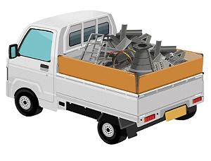 東京の事業系ゴミ回収で産業廃棄物を載せた軽トラック